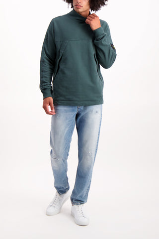 Full Body Image Of Model Wearing Stone Island Mock Neck Fleece Sweatshirt