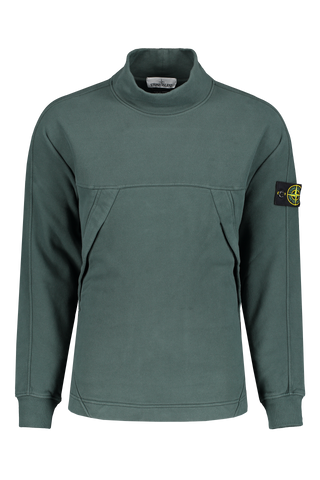 Front Crop Of Stone Island Mock Neck Fleece Sweatshirt