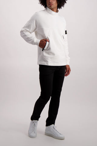 Full Body Image Of Model Wearing Stone Island Mock Neck Sweatshirt Natural