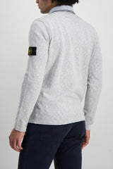 Back Crop Image Of Model Wearing Stone Island Pearl Grey Knit