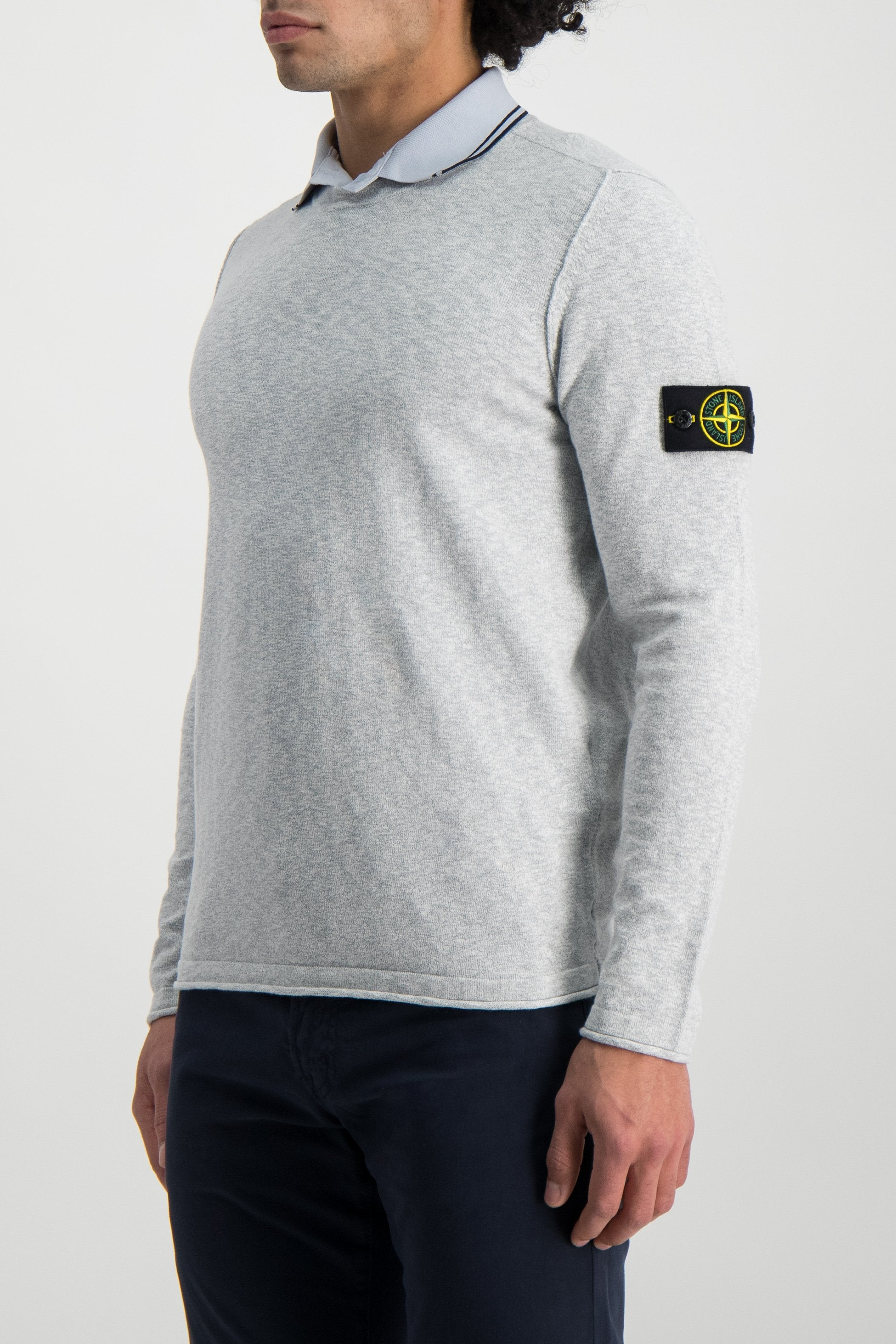 Front Crop Image Of Model Wearing Stone Island Pearl Grey Knit