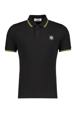 Front Image of Stone Island Polo Shirt Black With Neon