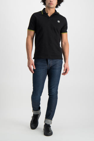 Full Body Image Of Model Wearing Stone Island Polo Shirt Black With Neon