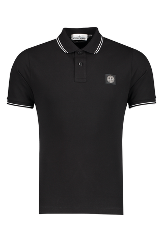 Front Image of Stone Island Polo Shirt Black W/ White