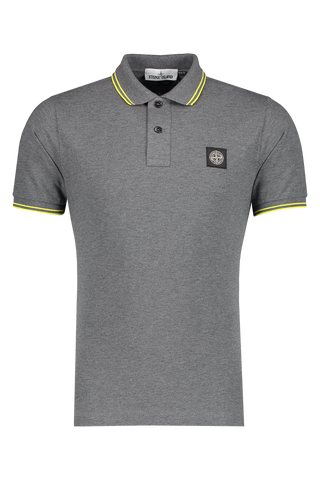 Front Image of Stone Island Polo Shirt Dark Grey Melange