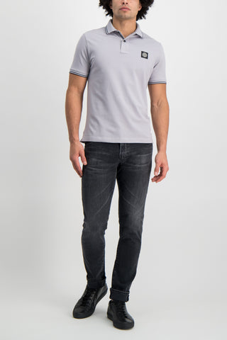 Full Body Image Of Model Wearing Stone Island Polo Shirt Dust