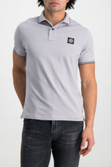 Front Crop Image Of Model Wearing Stone Island Polo Shirt Dust