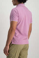Back crop Image Of Model Wearing Stone Island Polo Shirt Rose Quartz