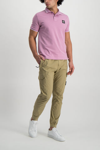 Full Body Image Of Model Wearing Stone Island Polo Shirt Rose Quartz