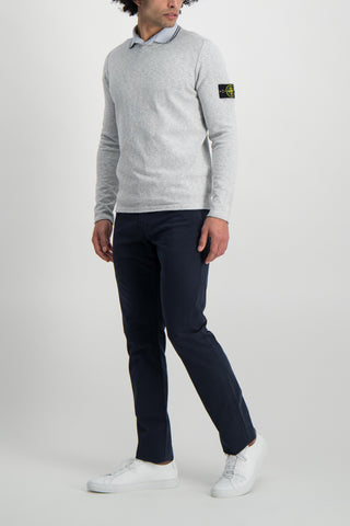 Full Body Image Of Model Wearing Stone Island Polo Shirt Sky Blue