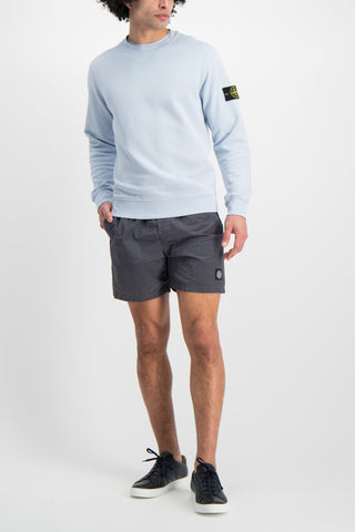 Full Body Image Of Model Wearing Stone Island Casual Short Blue Grey