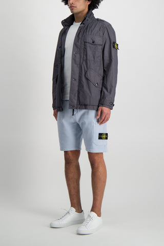 Full Body Image Of Model Wearing Stone Island Sky Blue Fleece Short