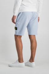 Back Crop Image Of Model Wearing Stone Island Sky Blue Fleece Short