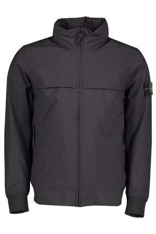 Front View of Stone Island Soft Shell Black Jacket