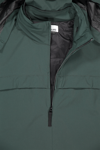 Front collar and zipper detail image of Stone Island Soft Shell Jacket Primaloft Insulation Green