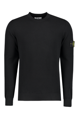 Front image of Stone Island Stretch Wool Crewneck Black