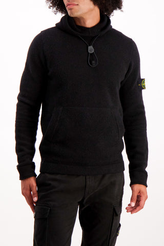 Front Crop Image Of Model Wearing Stone Island Striped Sleeve Hoodie Black