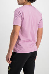 Back Crop Image Of Model Wearing Stone Island T-Shirt Rose Quartz