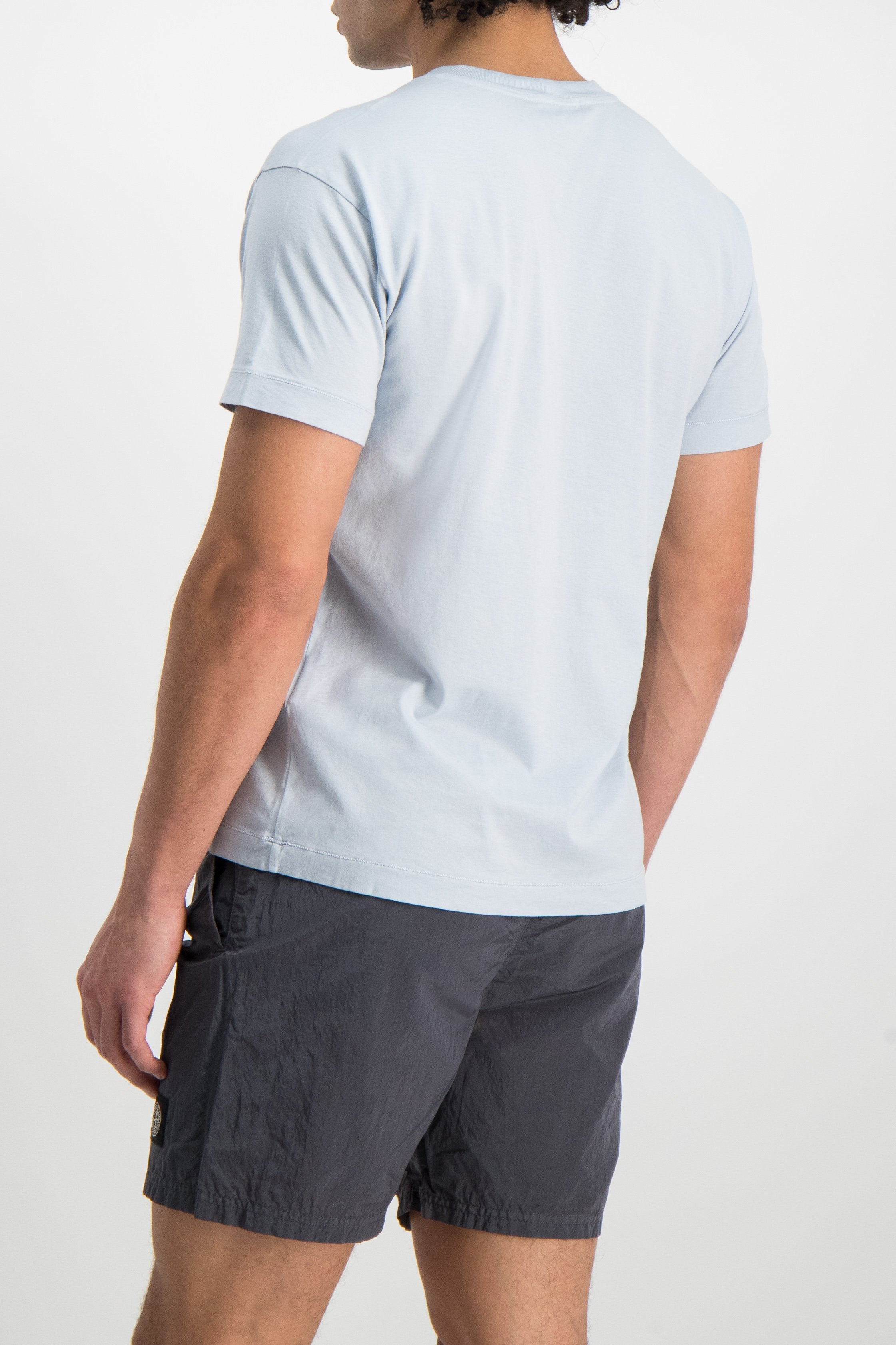 Back Crop Image Of Model Wearing Stone Island T-Shirt Sky Blue