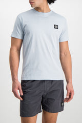 Front Crop Image Of Model Wearing Stone Island T-Shirt Sky Blue