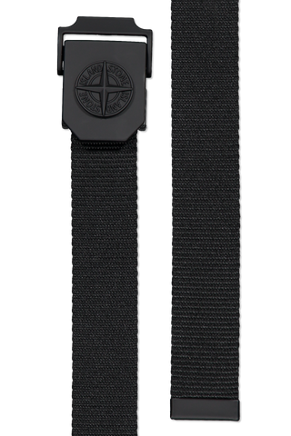Front image of both ends of Stone Island Tape Belt Black