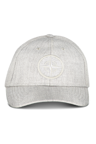 Front View of Stone Island Grey Hat with Logo