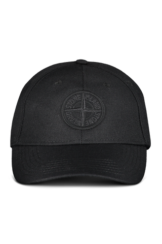 Front View of Stone Island Black Hat with Logo