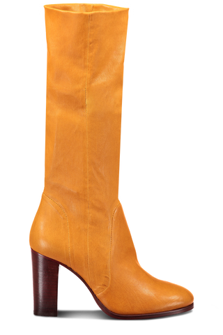 HERMIONE LEATHER MID CALF BOOT in CARAMEL