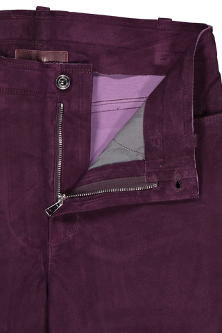 Waistline and zipper detail image of STOULS Sonny Suede Pant Grappe