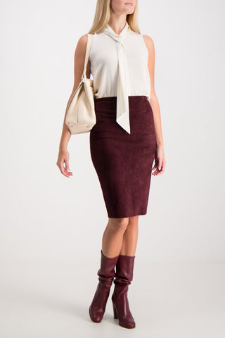 Gilda Suede Penicl Skirt Purple