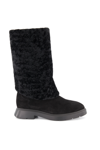 Side view image of Stuart Weitzman Women's Luiza Chill Suede Shearling Boot