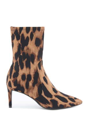 Front image of Stuart Weitzman Women's Wren 75 Leopard Stretch Boot