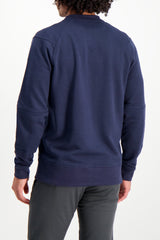 Back Crop Image OF Model Wearing Larry Sweatshirt Navy