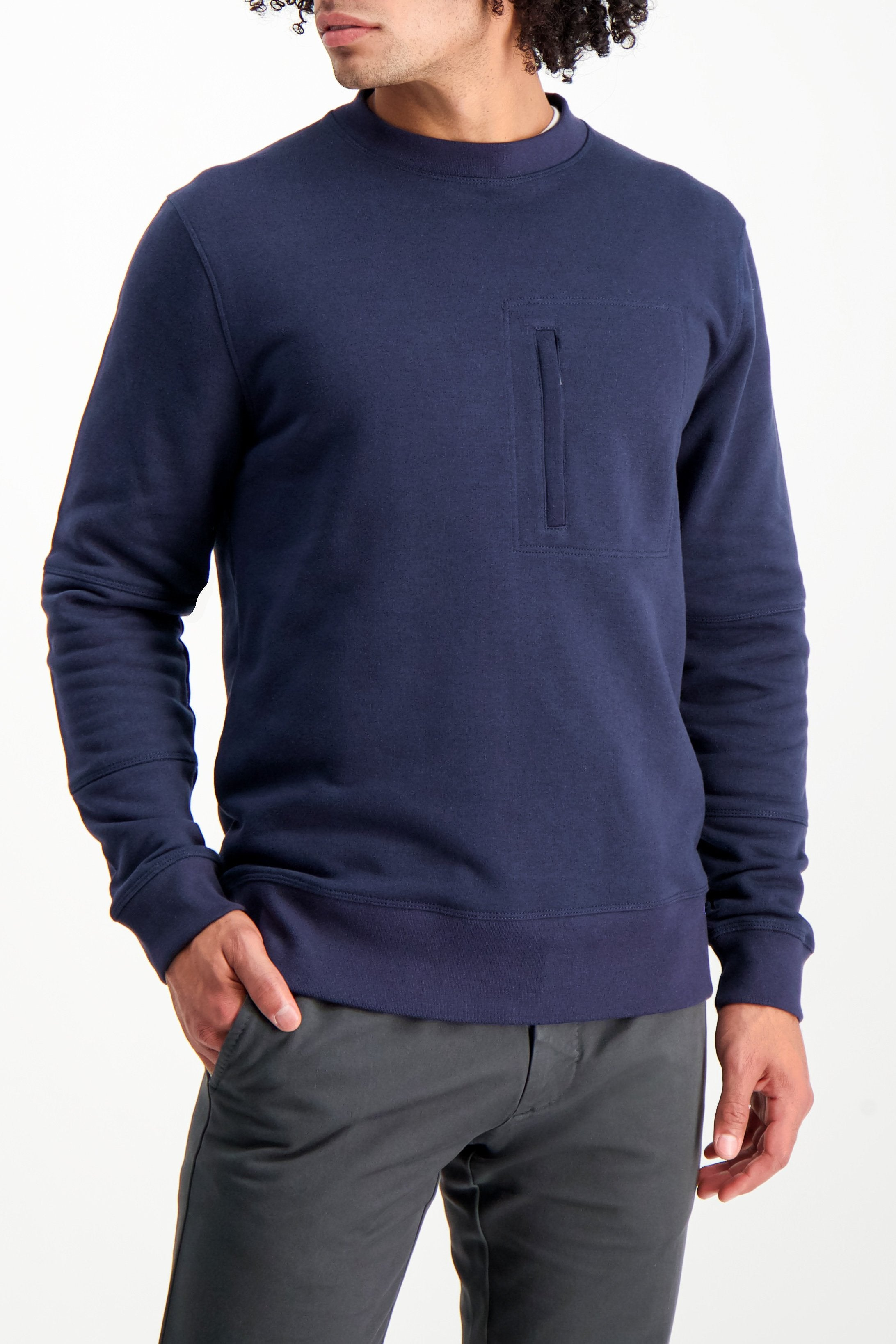 Front Crop Image OF Model Wearing Larry Sweatshirt Navy