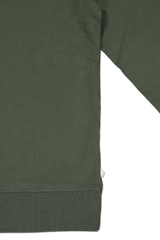 Back hemline and sleeve detail image of The GoodPeople Men's Liam Sweatshirt Army Green