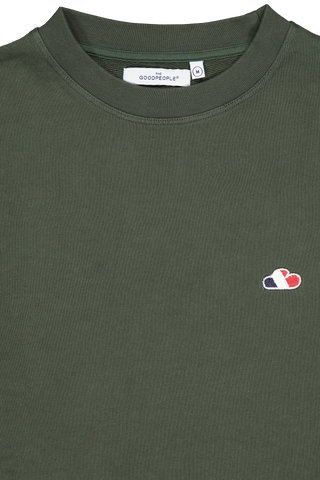 Front collar detail image of The GoodPeople Men's Liam Sweatshirt Army Green