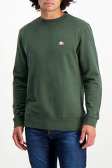 Front Crop Image Of Model Wearing Liam Sweatshirt Army Green