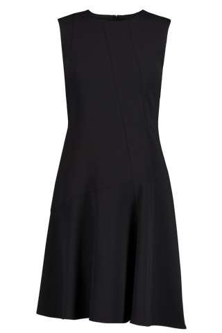 Front view image of Theory Women's Asymetrical Drape Dress Black