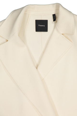 Front collar detail image of Theory Women's Clairene Coat Off White