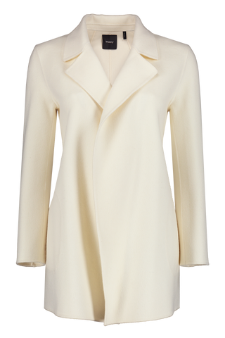 Front view image of Theory Women's Clairene Coat Off White