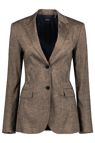 Front image of Theory Classic Blazer Beige Clay