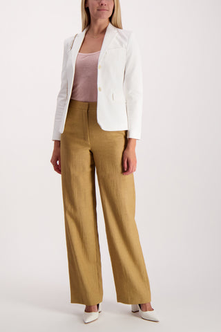 Full Body Image Of Model Wearing Theory Clean Trouser Hay Beige