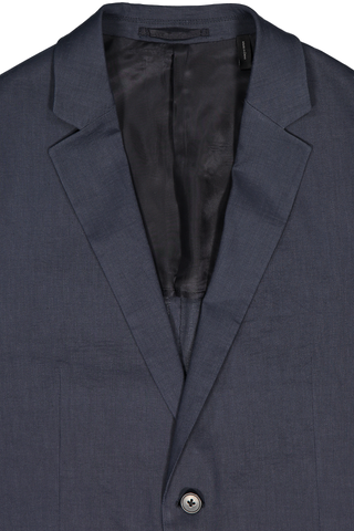 Notched Lapel Detail Clinton Ul Navy Linen Sportcoat