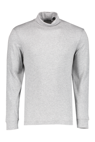 Front view image of Theory Men's Funnel Tee Turtleneck Grey Melange
