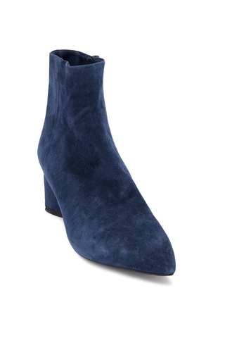 Front angled view image of Theory Women's Heel Suede Bootie Frozen Blue