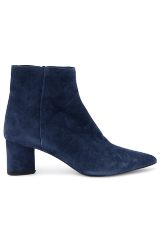 Side view image of Theory Women's Heel Suede Bootie Frozen Blue