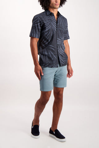 Full Body Image Of Model Wearing Men's Theory Menlo Printed Leaf Short Sleeve Woven