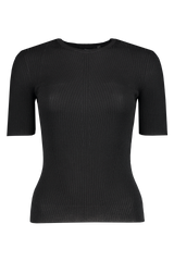 Front image of  Theory Women's Moving Rib Tee Black