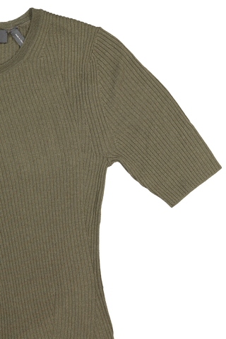 Sleeve detail image of Theory Women's Moving Rib Tee Deep Cargo