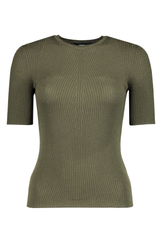 Front image of Theory Women's Moving Rib Tee Deep Cargo